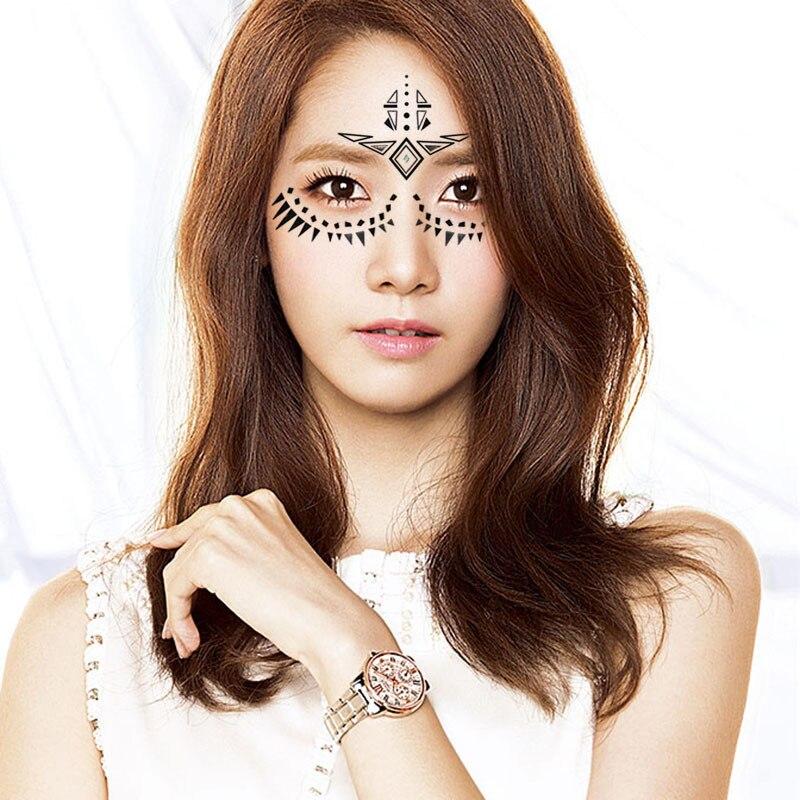 Henna Face Tattoo: 2pcs/lot Halloween Henna Eye Sticker Night Fashion Star