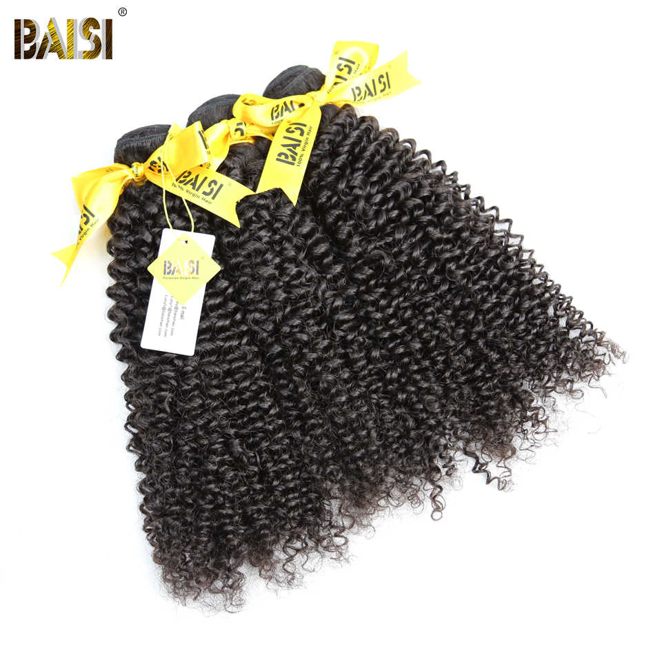BAISI Peruvian Curly Hair 3 Bundles Unprocessed 10A Raw Virgin Hair Extensions 100% Human Hair