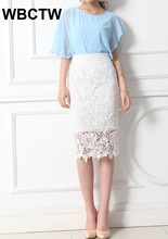 Women Lace Skirts Female Black Vintage Formal Ladies pencil skirt High Waist Bodycon Skirt