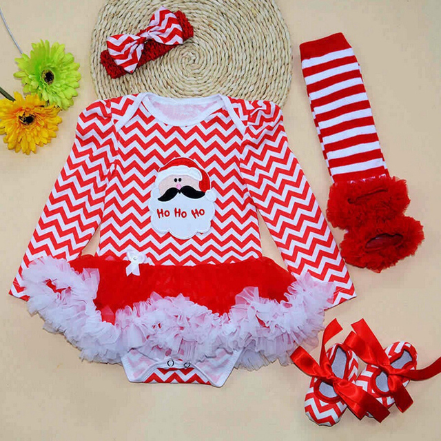 4PCs per Set Baby Girl Striped Outfit Tutu Dress Newborn Christmas Outfit  Leg Warmers Shoes Headband - 4PCs Per Set Baby Girl Striped Outfit Tutu Dress Newborn Christmas