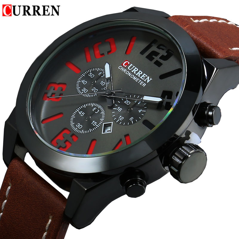 Relogio Masculino Fashion Montre Homme Reloj Hombre Quartz Watch Curren Male Watch Leather Wristwatches Men Display Date Watches