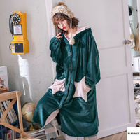 Elegant Luxury Womens Robes Coral Velvet Star Thicken Nightgowns Winter Bathrobe Women Pajamas Bath Flannel Warm Robe Sleepwear