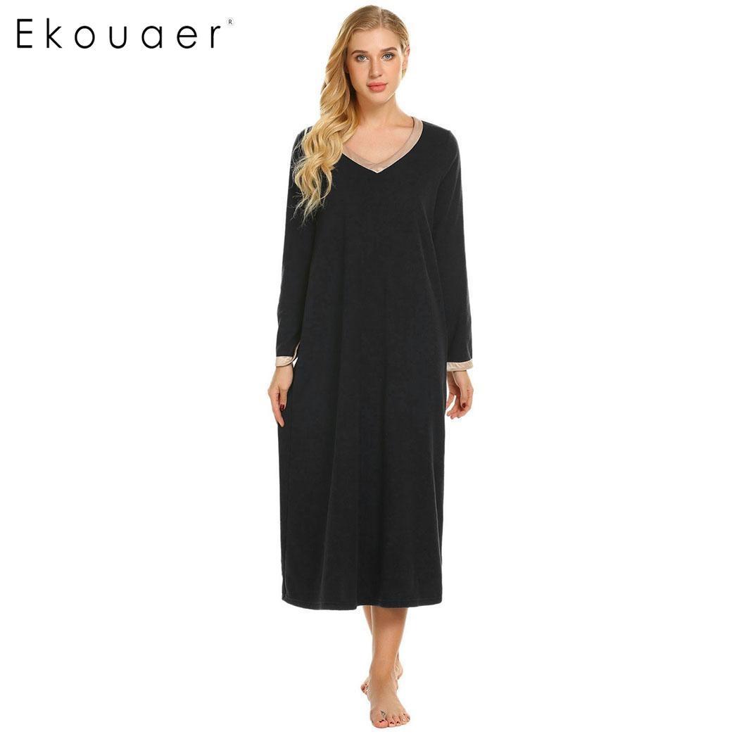Ekouaer Women   Nightgown   Chemise   Sleepshirts   Casual V-Neck Long Sleeve Patchwork Satin Trims Nightdress Female Loose Home Dress