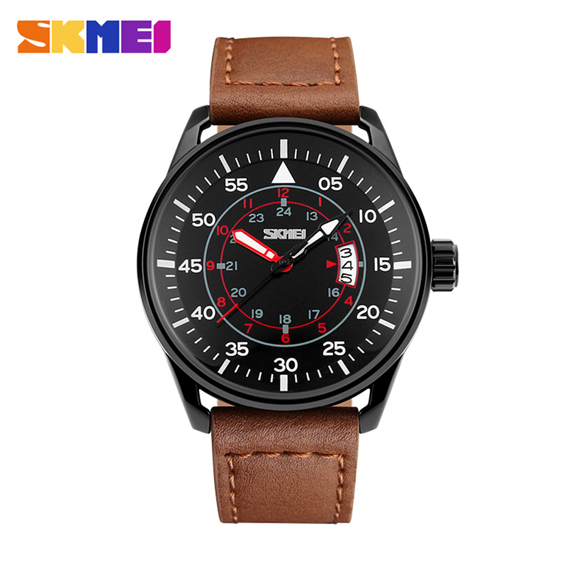 SKMEI Men Quartz Watches 50M Waterproof Genuine Leather Wristwatches 9113 18.05SKMEI Men Quartz Watches 50M Waterproof Genuine Leather Wristwatches 9113 18.05