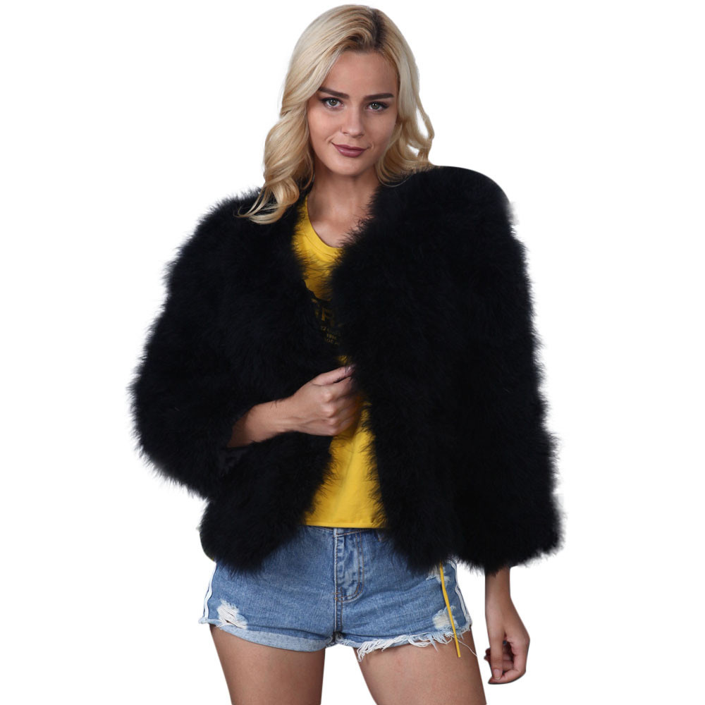 2019 New Fashion Women Faux Fur Coat Ostrich Feather Soft Fur Fluffy Short Winter Coat female Outwear chaqueta mujer S!A60