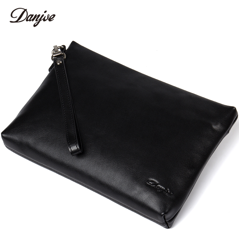 DANJUE Luxury Genuine Leather Day Clutches Bag Men Business Phone Bag Natural Real Cowhide Men Purse Wallet Bags new designer woman oil wax genuine leather bag cowhide fashion day clutches long purse female ladies handbag for men famous bags
