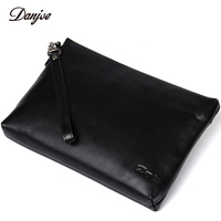 DANJUE Luxury Genuine Leather Day Clutches Bag Men Business Phone Bag Natural Real Cowhide Men Purse Wallet Bags