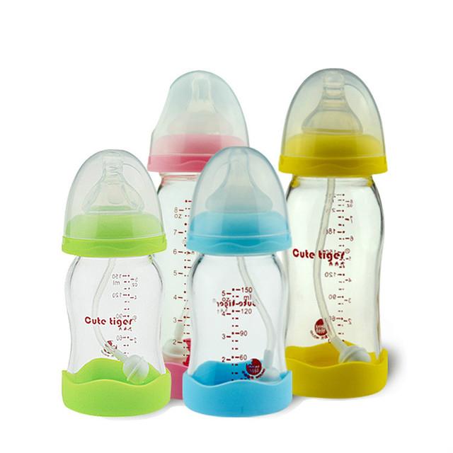 240 ml mamadeira vidro 2017 mais recente do bebê mamadeira copo infantil de boca larga de alta qualidade titanium cristal garrafas de leite do bebê