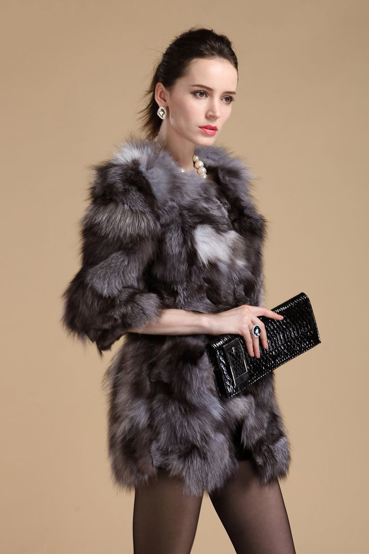 Frauen ntel Grau Mantel Jacke Fox Herbst Winter Kleidung Lady Frau M Vk1508 Echtpelz 4rmel topfurmallLuxus Oberbekleidung 3 w0m8OvNn