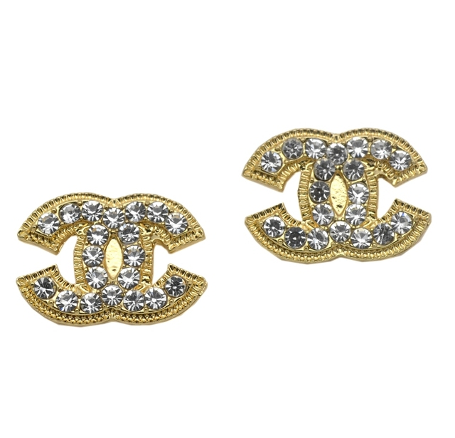 Crystal Diamante Stud Earrings Both Gold And Silver Available