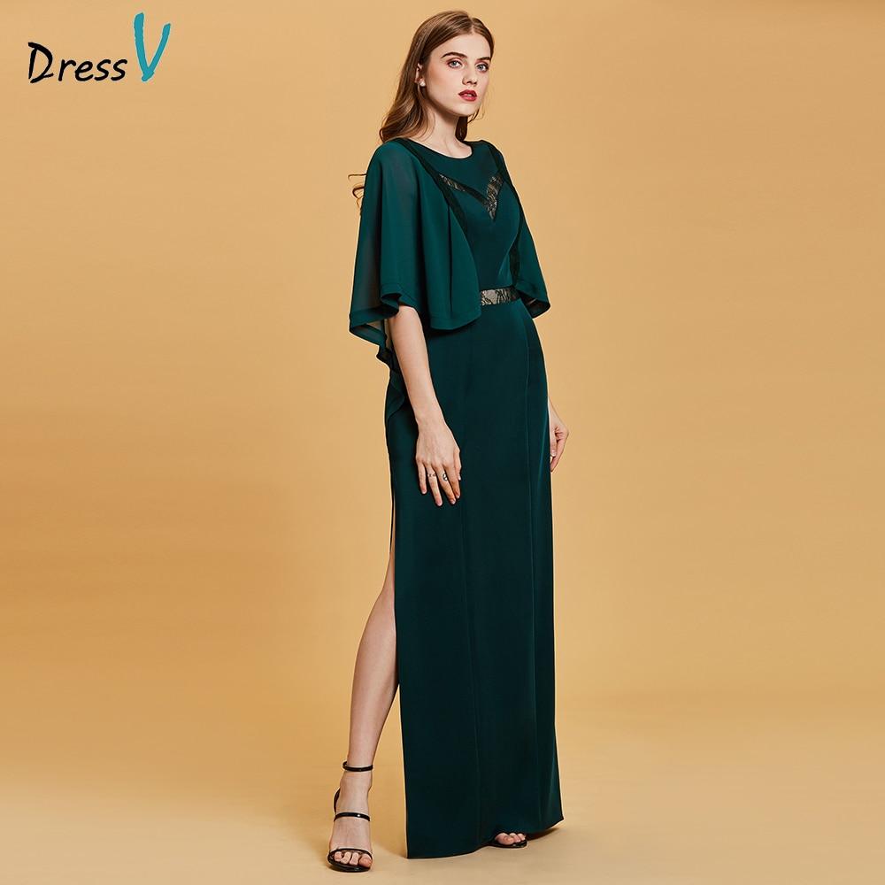 Dressv dark green   evening     dress   cheap scoop neck a line half sleeves floor length wedding party formal   dress     evening     dresses