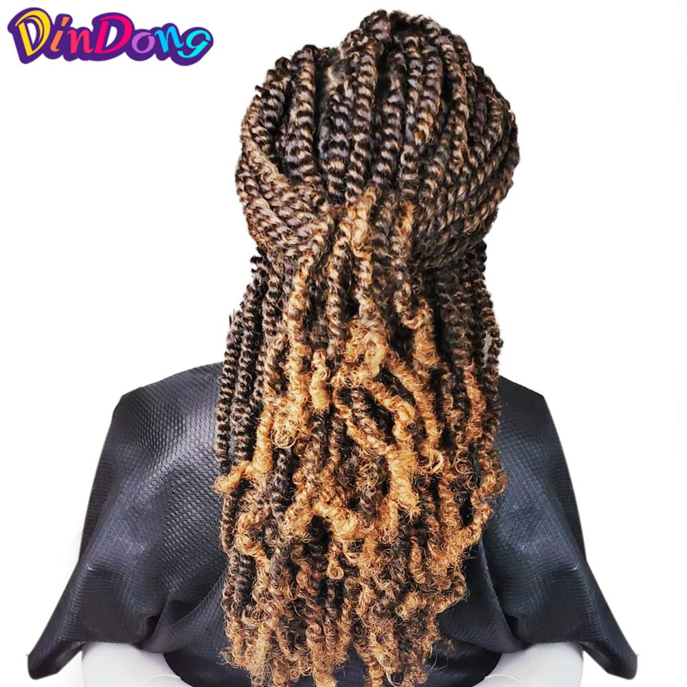 DinDong 12'' Passion Spring Twists Synthetic Crotchet Hair Extensions Kinky Curly Black Brown Burgundy Ombre Crochet Braids