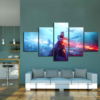 5 Piece HD Military Poster Battlefield 5 Video Game Canvas Art Wall Pictures for Living Room Decor