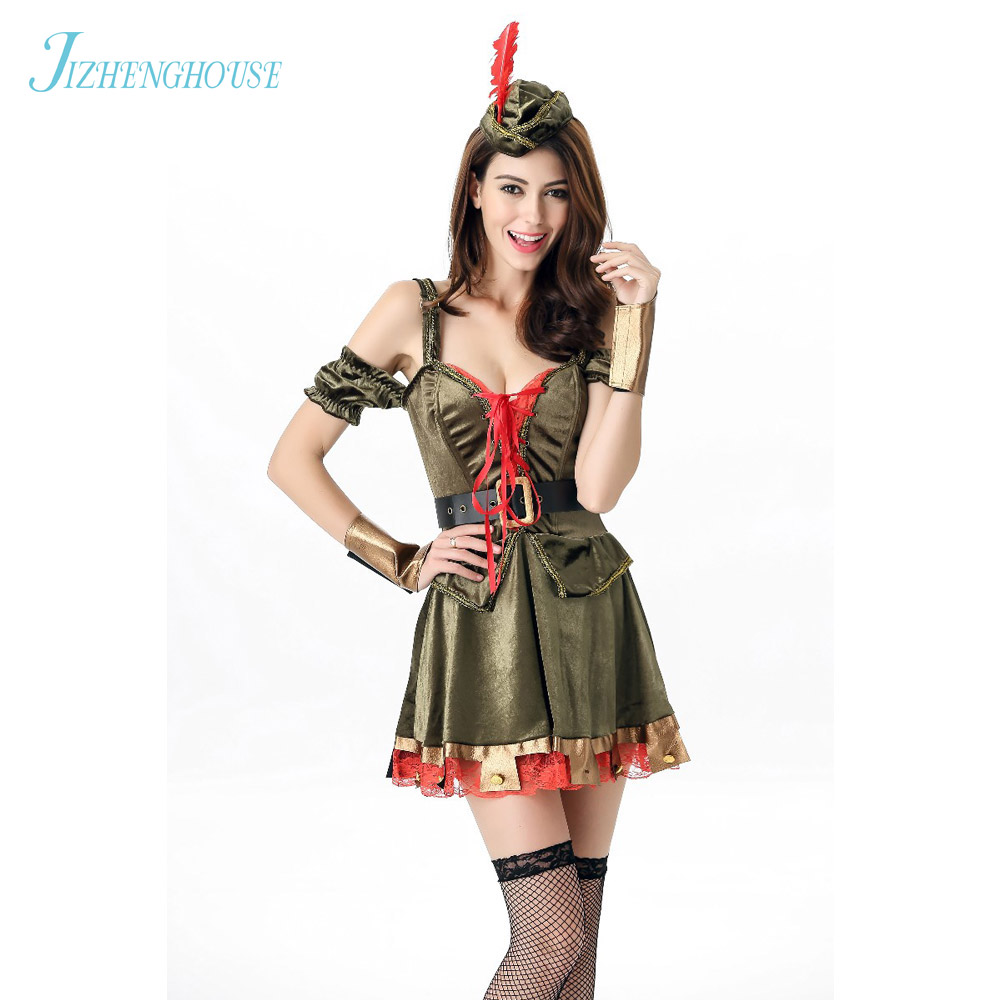 JIZHENGHOUSE Womens Sexy Halloween Cosplay Clothing Robin Hood Costume