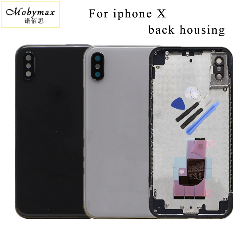 Chassis Back Housing Battery Cover Coque Fundas for iPhone X +LOGO&Buttons&Sim Tray+ battery Sticker+Tool
