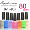 2016 Hot Sale Sapphire Nail Gel Polish Newest Gelpolish 80 Fashion UV Gel Polish 7.3 ML 1PC Color 61-80 Led Gel Nail Polish