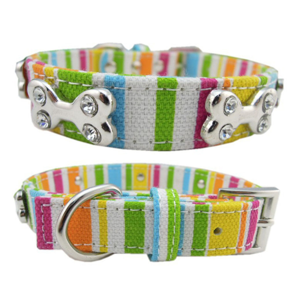 Rainbow Color Pet Collar Canvas Dog Collars For Large Dog Neckband Rhinestone Bone Cat Collar Colorful Striped Collars S/M/L/XL