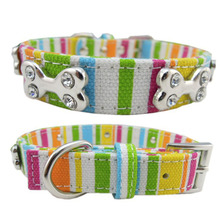 Rainbow Color Pet Collar Canvas Dog Collars For Large Neckband Rhinestone Bone Cat Colorful Striped S/M/L/XL