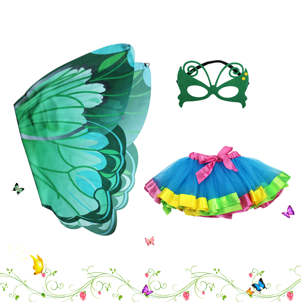 D.Q.Z Fairy dress girls dance costume wing tutu skirt wedding and party decoration items ...