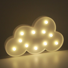 3D Marquee Cloud Lamp with 11 LEDs Night Light Battery operated White /Blue Cloud Letter light Christmas Decoration Kid's Gift