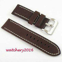 26mm gray cow heavy strap leather Watch white Stitches fit mens military watch