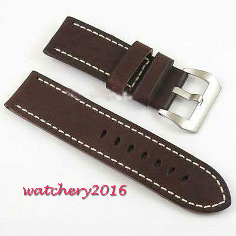 d5f202c85f 26mm gray cow heavy strap leather Watch white Stitches fit mens military  watch