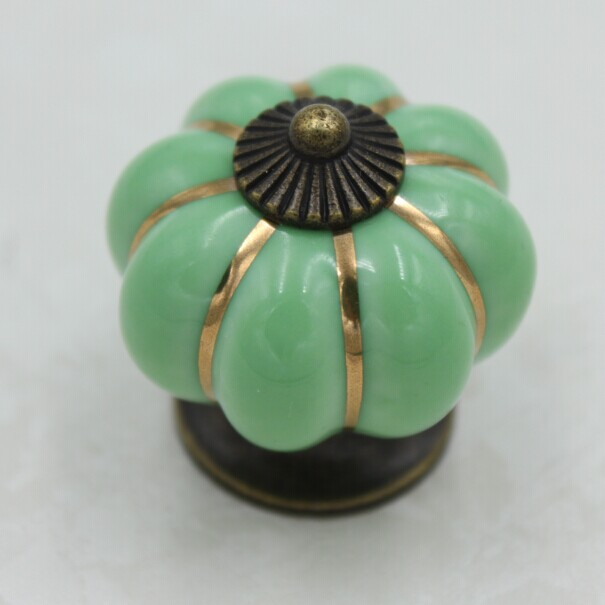 Wonderful 38mm Bronze Kitchen Cabinet Knobs Green Ceramic Drawer Pulls Squash Type  Dresser Wardrobe Handle Pulls Knobs