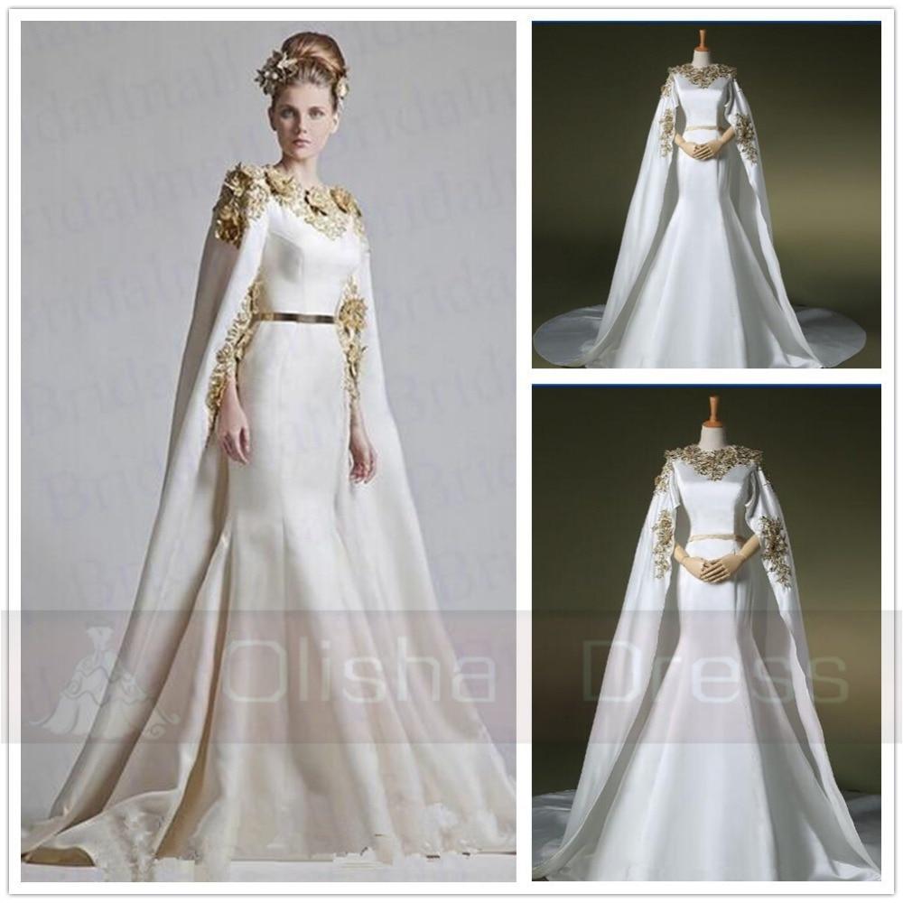 Einzigartige Weiß Meerjungfrau Gold Appliques Abendkleid mit Cape ...