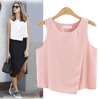 2017 Summer Brand New Fashion Women Sleeveless Tank Tops Chiffon Black White Blouse Chemise Femme Blusas