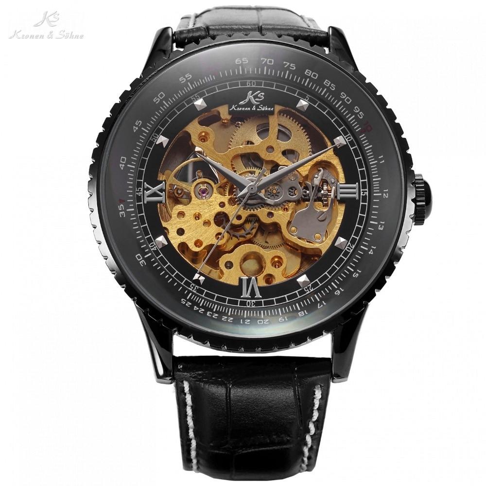 цена на Luxury Kronen Sohne Royal Black Big Case Automatic Mechanical Skeleton Leather Wrap Relogio Self Wind Men Wristwatch /