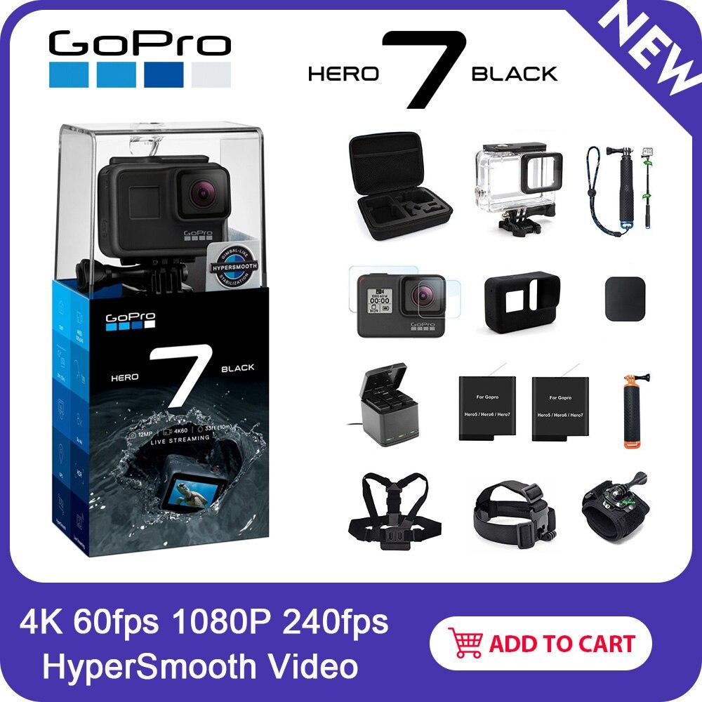 Cámara de Acción impermeable GoPro HERO7 negro con pantalla táctil Cámara deportiva Go Pro HERO 7 fotos de 12MP estabilización de transmisión en directo