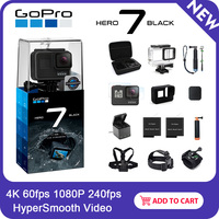 GoPro HERO7 Black Waterproof Action Camera with Touch Screen Sports Cam Go Pro HERO 7 12MP Photos Live Streaming Stabilization