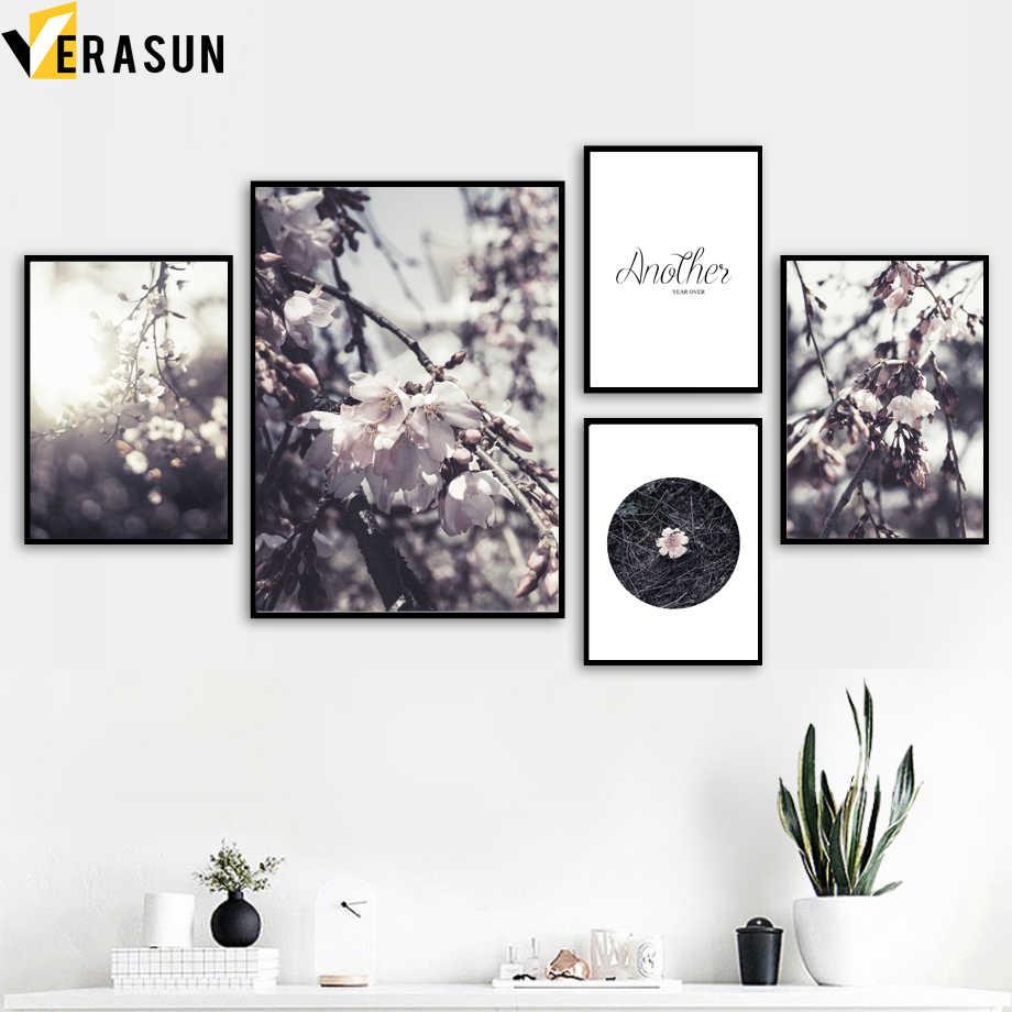 Rose pêche fleur citations paysage mur Art toile peinture nordique affiches et impressions mur photos pour salon décor à la maison