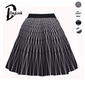 DayLook Striped Print Pleated Midi Skirt Elegant Skater  Vintage Space Cotton Womens Skirts Tutu Elastic High Waist Saia