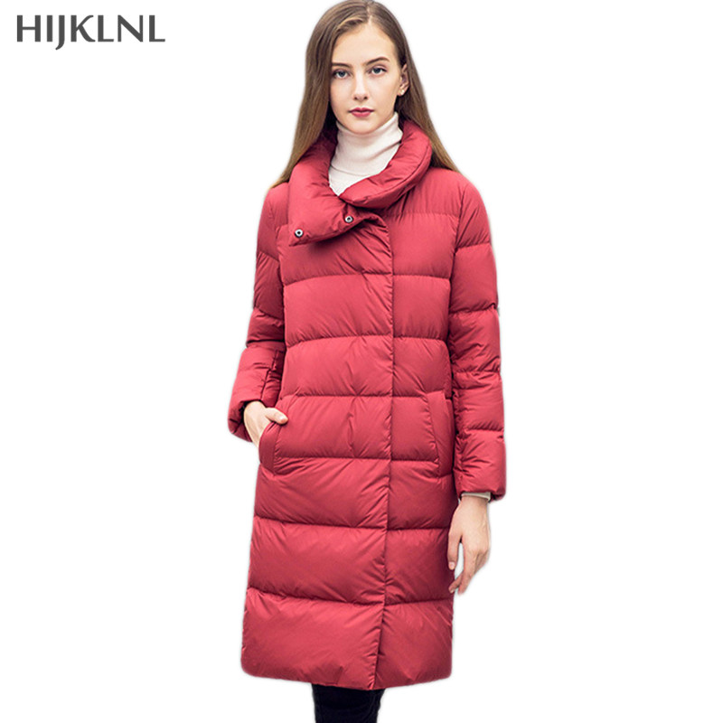 HIJKLNL Duck   Down   Jacket Women 2019 New Winter Long   Down     Coat   Fashion Solid Color Long   Down   Jacket Woman's   Coat   Parkas LH1135
