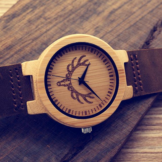 Bobo bird d15 relógio gravado da cabeça do lobo dos homens de bambu de bambu Artesanal de marcação de Quartzo relógio de Pulso na Caixa de Presente reloj de los hombres