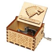Старинная деревянная резная музыкальная шкатулка 3D Игра престолов музыкальная шкатулка Красавица и Чудовище Рождественский подарок на год подарки для мальчиков девочек