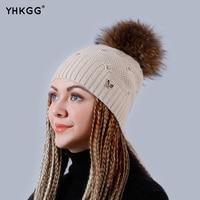 YHKGG Ms Natural Real Raccoon Fur Animal POM Winter Crochet Knit Cap Hat 2016