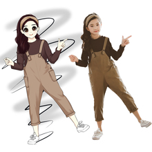 Girls Clothes Set T-Shirt+Jumpsuit 2 Pcs Spring Autumn Suit For Casual Kids Girl Clothing Teen 6 8 12 Y