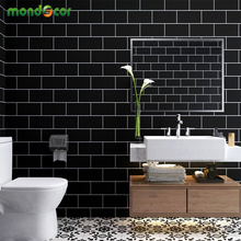 3M/5M Modern Self Adhesive Tiles Wall Stickers Black White Paper Rolls Living Room Bathroom Waterproof PVC Vinyl Home Decor