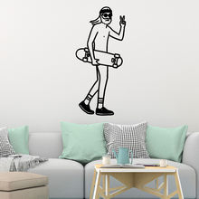 Removable Skateboard Cartoon Wall Decals Pvc Mural Art Diy Poster Kids Room Nature Decor Vinyl