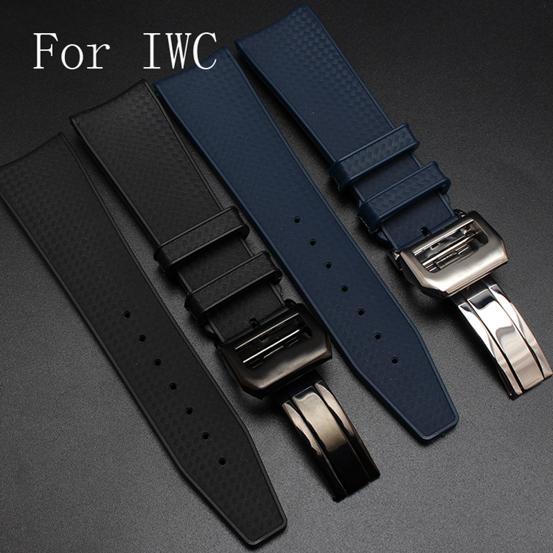 Luxury Brands 22mm Super Flexibility And Durability Rubber Strap Watchband For IW C With development Clasp