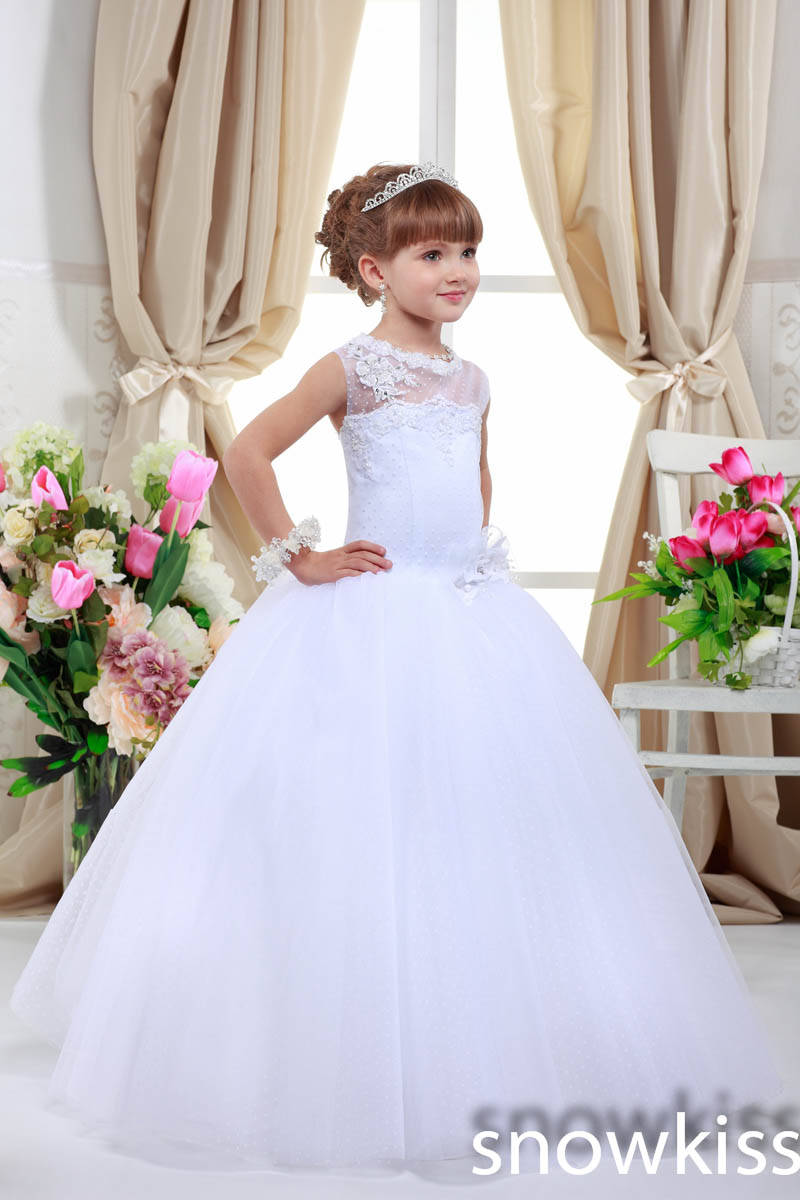 White/Ivory Sheer Lace Appliques Ball Gown long beautiful Little Girl Flower Girl First Communion Gown Dress For Wedding Party