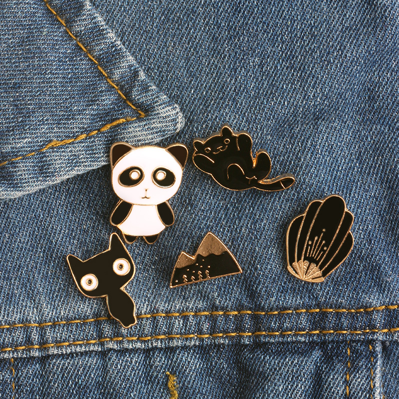 Home & Garden Lovely Individual Cat Pearl Brooch Pins For Clothes Cartoon Alloy Brooches Jeans Jacket Badges On Backpack