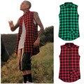 Hip hop mens dress shirt plaid shirts sleeve men shirts man extended red and black plaid shirt bluemen camisa masculina