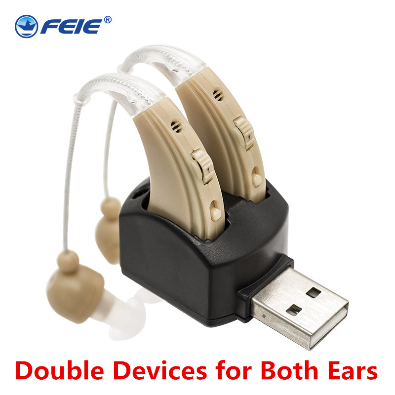 Rechargeable Ear Hearing Aid Apparatus High Power Hearing Aids Ear Instrument Double Earphones Deafness Device S