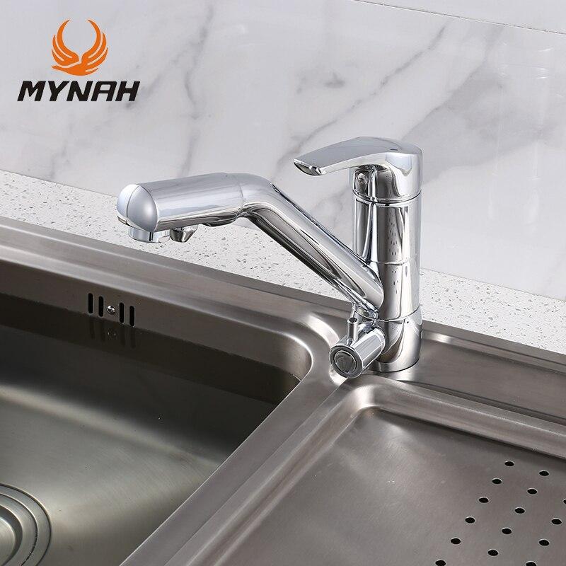 Майна одной ручкой одно отверстие смеситель хром для кухни с подключением питьевой воды фильтр, носик поворотным