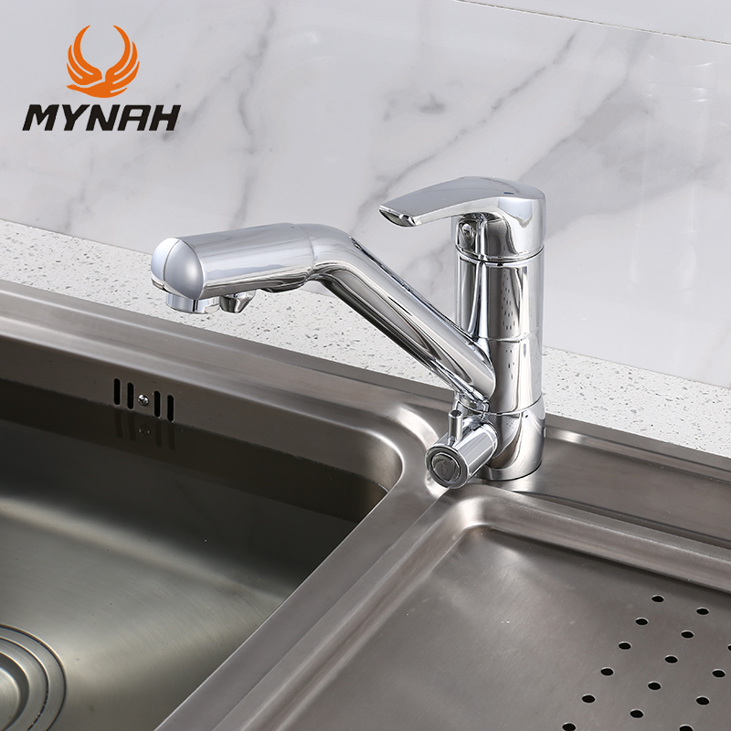 купить MYNAH Single Handle Single Hole Faucet Mixer Chrome For The Kitchen With The Connection Of Drinking Water Filter, Spout Pivoting недорого