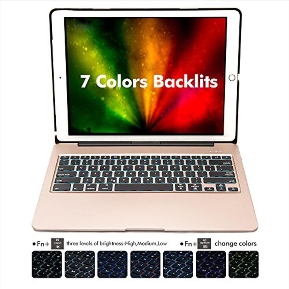 Aluminium Bluetooth Tastatur Fall für iPad Pro 12,9 Modell A1584/A1652/A1670/A1671 Slim Schutzhülle mit 7 farben Backlit - 2