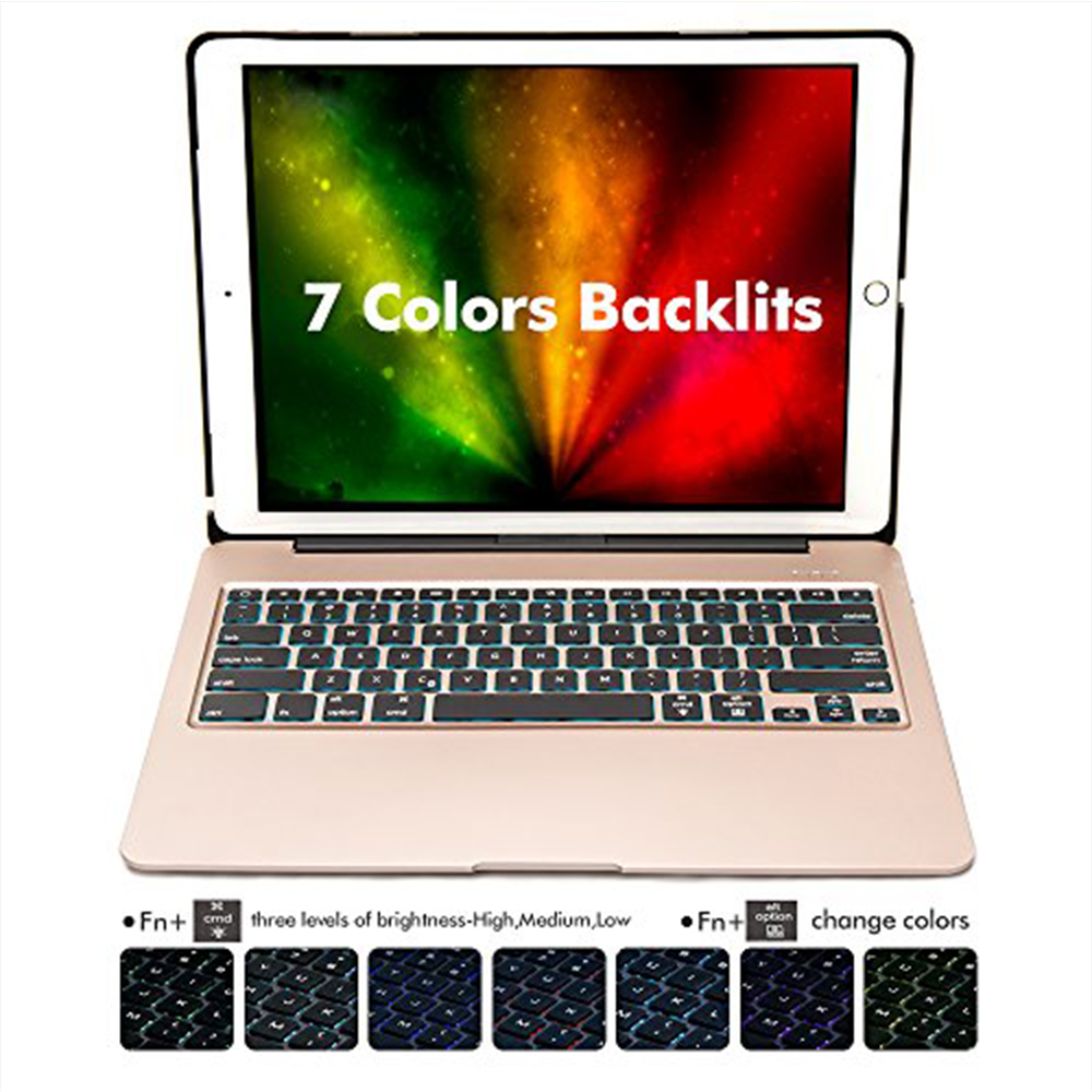 Aluminum Bluetooth Keyboard Case for iPad Pro 12.9 Model A1584/A1652/A1670/A1671 Slim Protective Cover with 7 Colors Backlit - 2
